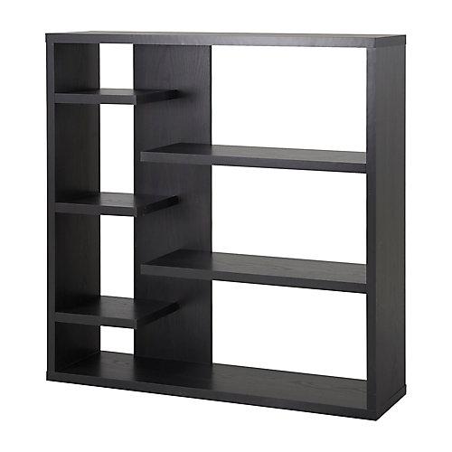 43.34-inch x 43.22-inch x 11.03-inch 6-Shelf Manufactured Wood Bookcase in Black