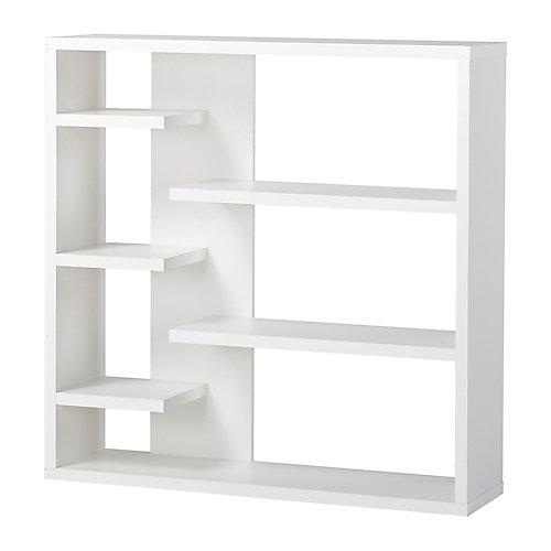 43.34-inch x 43.22-inch x 11.03-inch 6-Shelf Manufactured Wood Bookcase in White