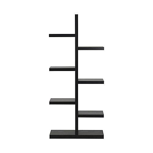 27.58-inch x 63.04-inch x 11.03-inch 7-Shelf Manufactured Wood Bookcase in Black