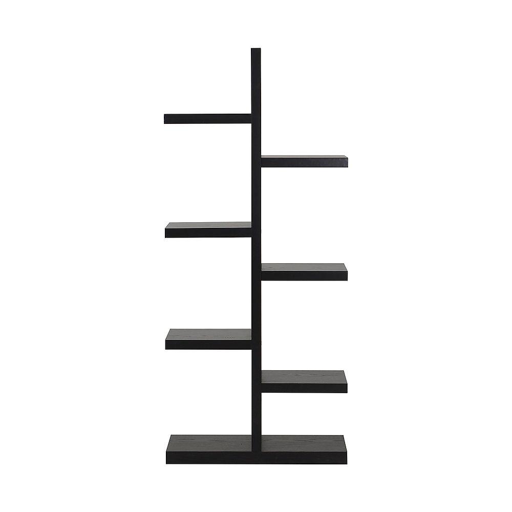 Homestar 27.58-inch x 63.04-inch x 11.03-inch 7-Shelf Manufactured Wood Bookcase in Black