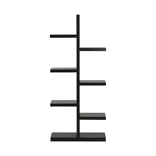 27.58-inch x 63.04-inch x 11.03-inch 7-Shelf Manufactured Wood Bookcase in Black