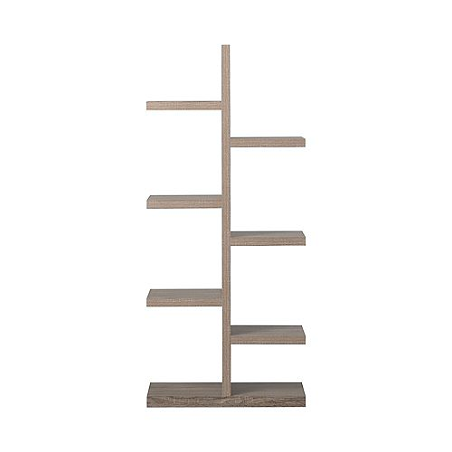 27.58-inch x 63.04-inch x 11.03-inch 7-Shelf Manufactured Wood Bookcase in Grey