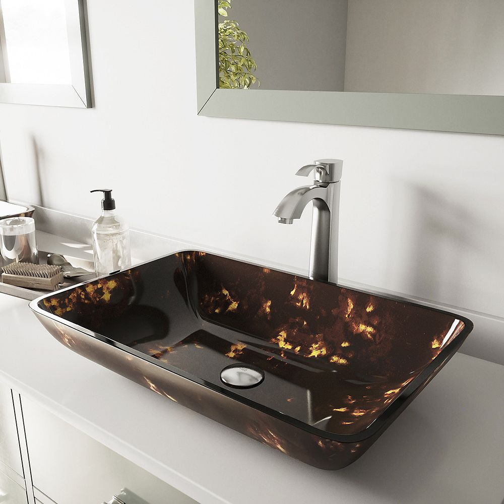 VIGO Rectangular Glass Vessel  Bathroom Sink in Brown and Gold Fusion with Otis Faucet Set in Brushed Nickel