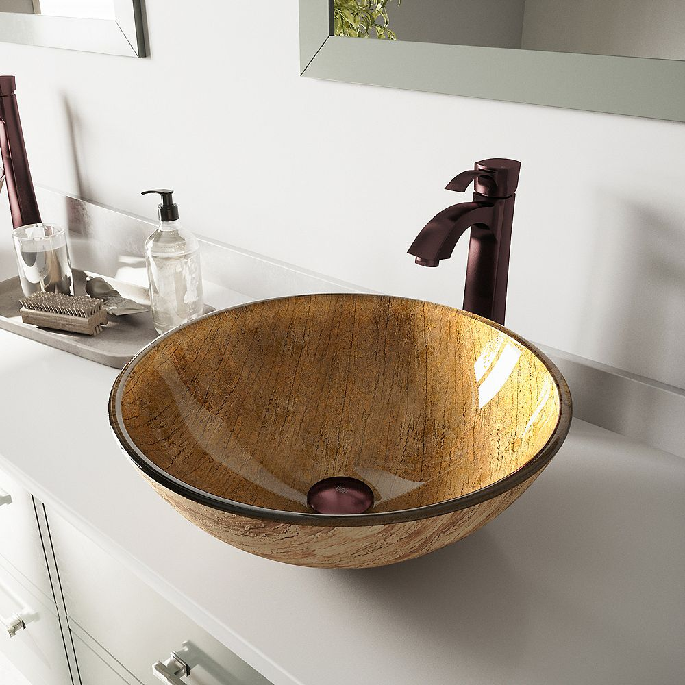 VIGO Glass Vessel Bathroom Sink in Amber Sunset with Otis Faucet Set in Oil Rubbed Bronze