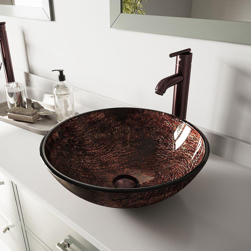 VIGO Glass Vessel Sink in Kenyan Twilight with Seville Faucet in Oil-Rubbed Bronze