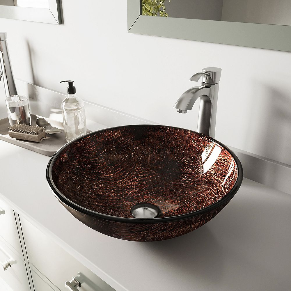 VIGO Glass Vessel Bathroom Sink in Brown Kenyan Twilight with Otis Faucet Set in Brushed Nickel