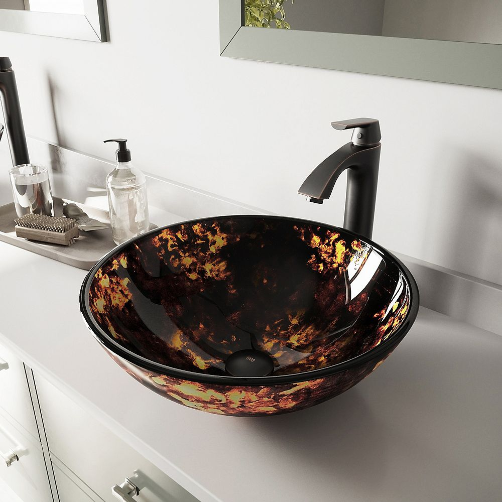 VIGO Glass Vessel Bathroom Sink in Brown and Gold Fusion and Linus Faucet Set in Antique Rubbed Bronze