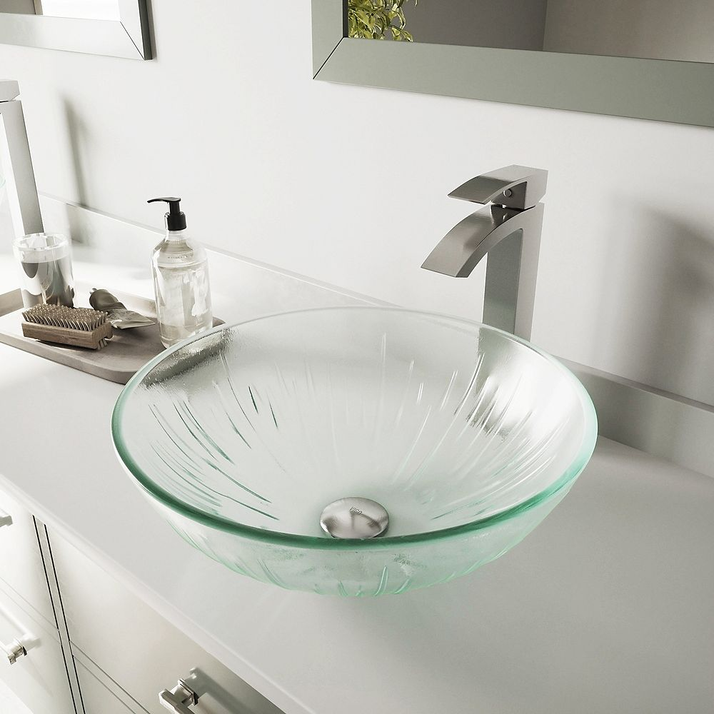 VIGO Glass Vessel Bathroom Sink in Clear Icicles and Duris Faucet Set in Brushed Nickel