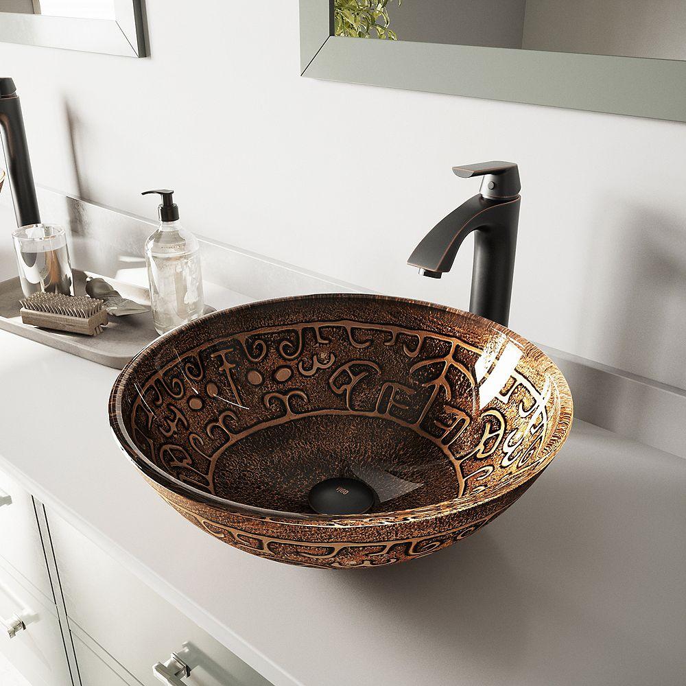 VIGO Glass Vessel Bathroom Sink in Golden Greek and Linus Faucet Set in Antique Rubbed Bronze