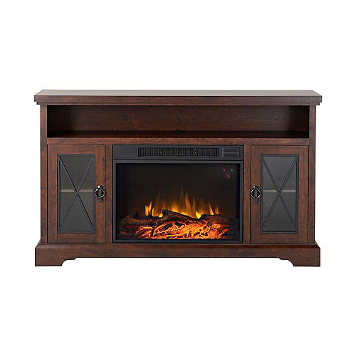 Padova 57.5 Inch Wide Media Fireplace in Walnut