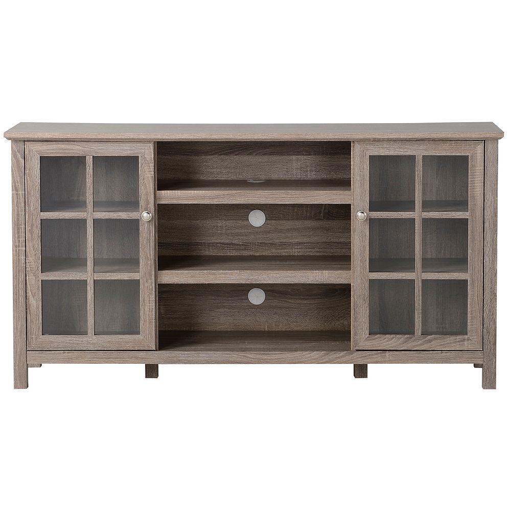 Homestar Provence 60-inch W Media Stand with 2 Cabinets and Centre Shelving in Reclaimed Wood