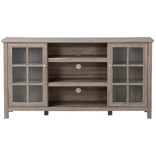 Provence 60-inch W Media Stand with 2 Cabinets and Centre Shelving in Reclaimed Wood