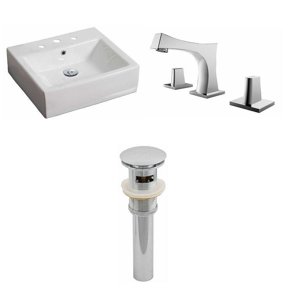 American Imaginations 20-inch W x 18-inch D Rectangular Vessel Sink in White with Faucet and Drain