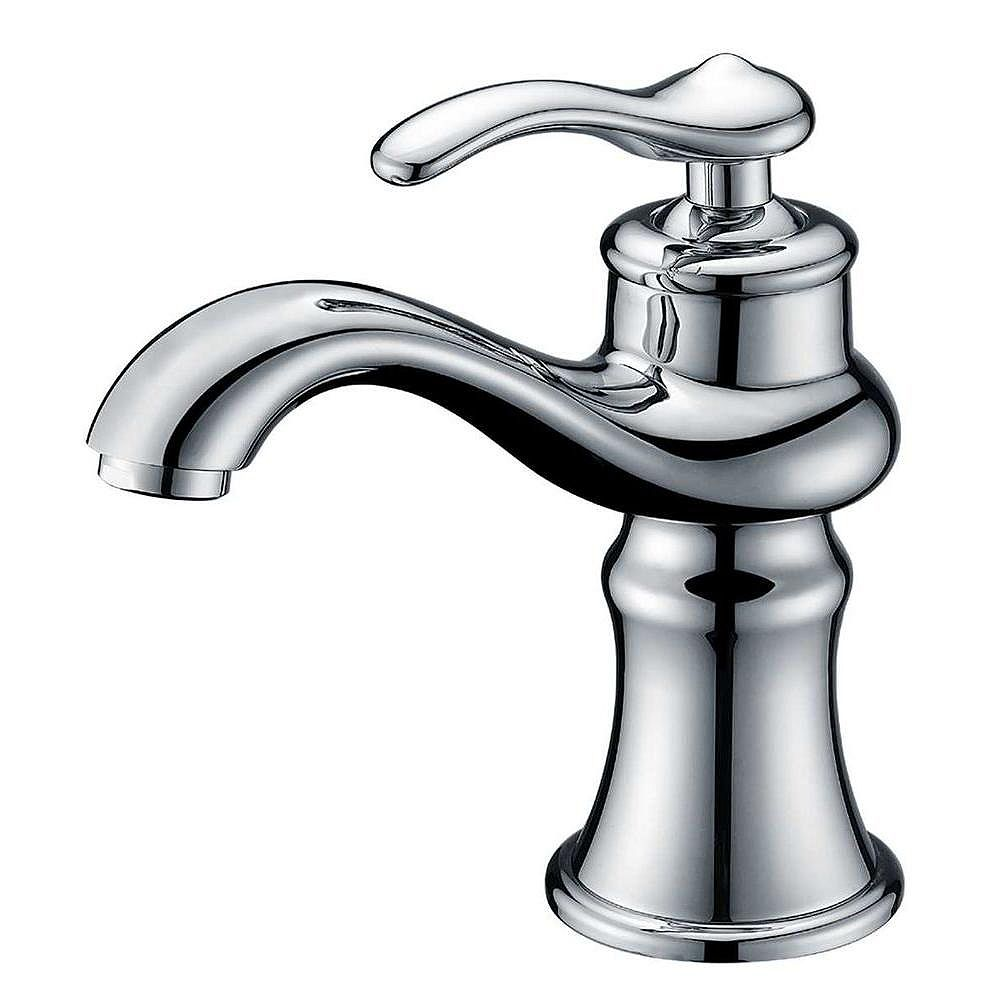 American Imaginations Single Hole Brass Bathroom Faucet in Chrome Finish