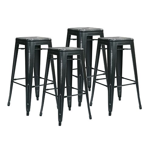 Bristow Metal Black Industrial Backless Armless Bar Stool with Black Metal Seat - (Set of 4)
