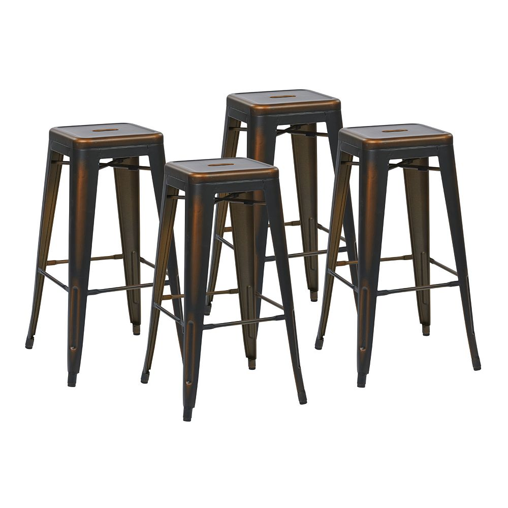 OSP Designs Bristow Metal Copper Industrial Backless Armless Bar Stool with Copper Metal Seat - (Set of 4)