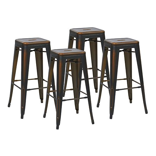 Bristow Metal Copper Industrial Backless Armless Bar Stool with Copper Metal Seat - (Set of 4)
