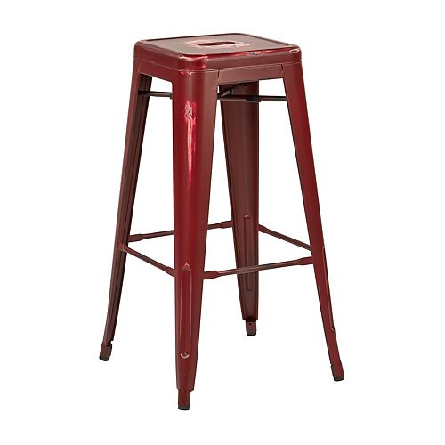 OSP Designs Bristow Metal Red Industrial Backless Armless Bar Stool with Red Metal Seat - (Set of 4)