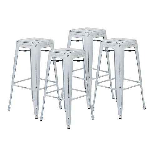 Bristow Metal Chrome Industrial Backless Armless Bar Stool with Chrome Metal Seat - (Set of 4)