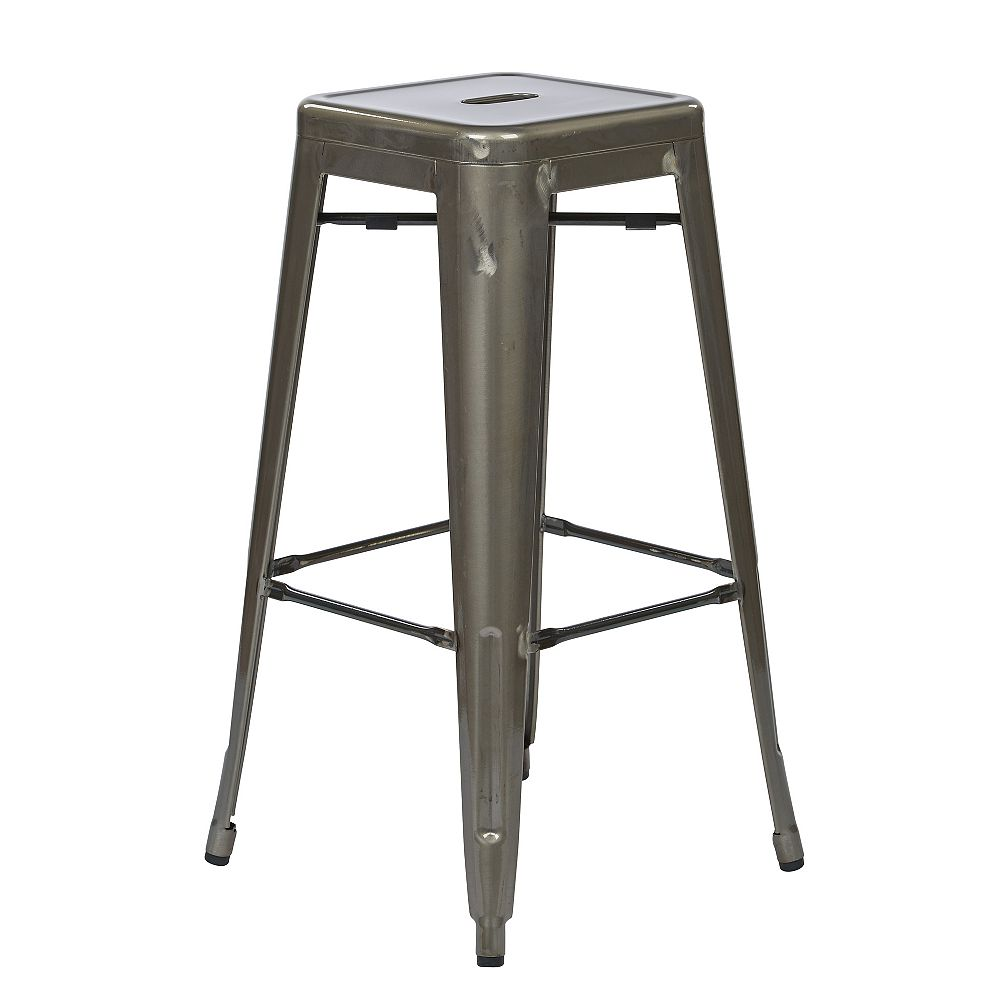 OSP Designs Bristow Metal Grey Industrial Backless Armless Bar Stool with Grey Metal Seat - (Set of 4)
