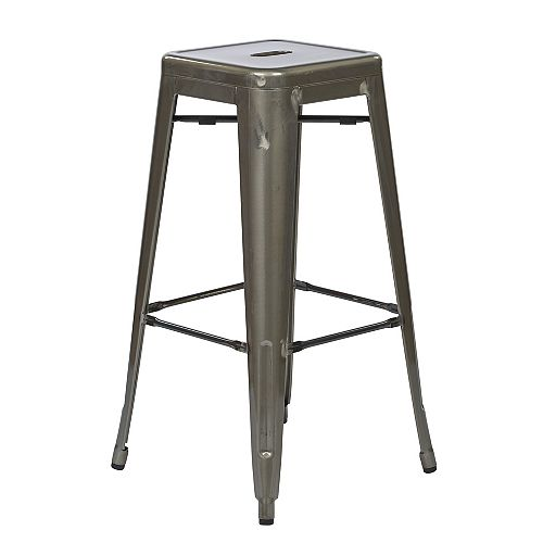 Bristow Metal Grey Industrial Backless Armless Bar Stool with Grey Metal Seat - (Set of 4)