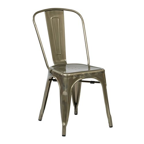 Bristow Metal Grey Slat Back Armless Dining Chair with Grey Metal Seat - (Set of 4)