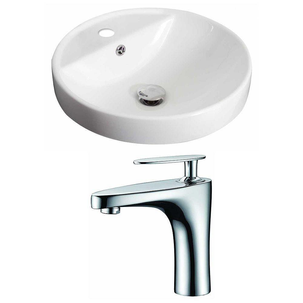 American Imaginations 18 1/2-inch W x 18 1/2-inch D Round Vessel Sink in White with Faucet