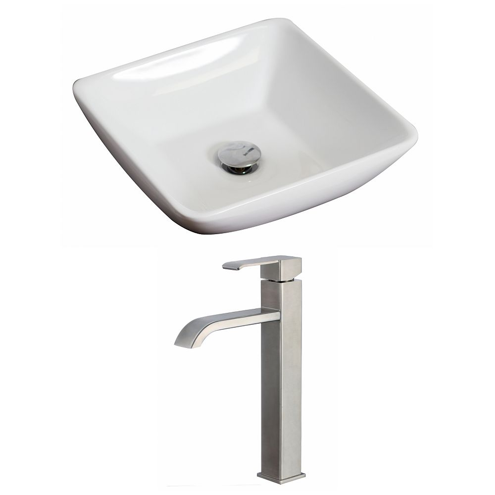 American Imaginations 16-inch W x 16-inch D Square Vessel Sink in White with Deck-Mount Faucet