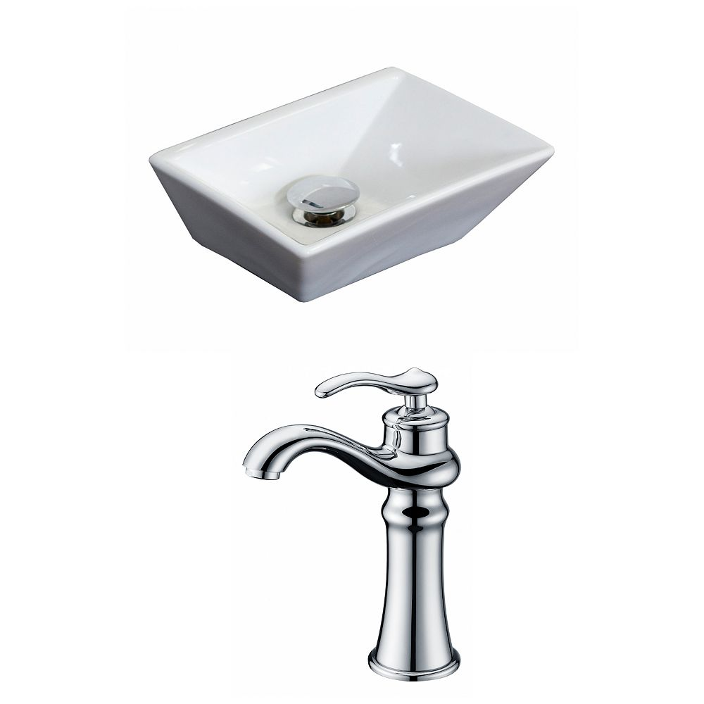 American Imaginations 12-inch W x 9-inch D Rectangular Vessel Sink in White with Deck-Mount Faucet