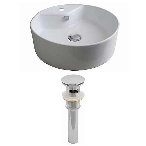 American Imaginations 18-inch W x 18-inch D Round Vessel Sink in White with Drain
