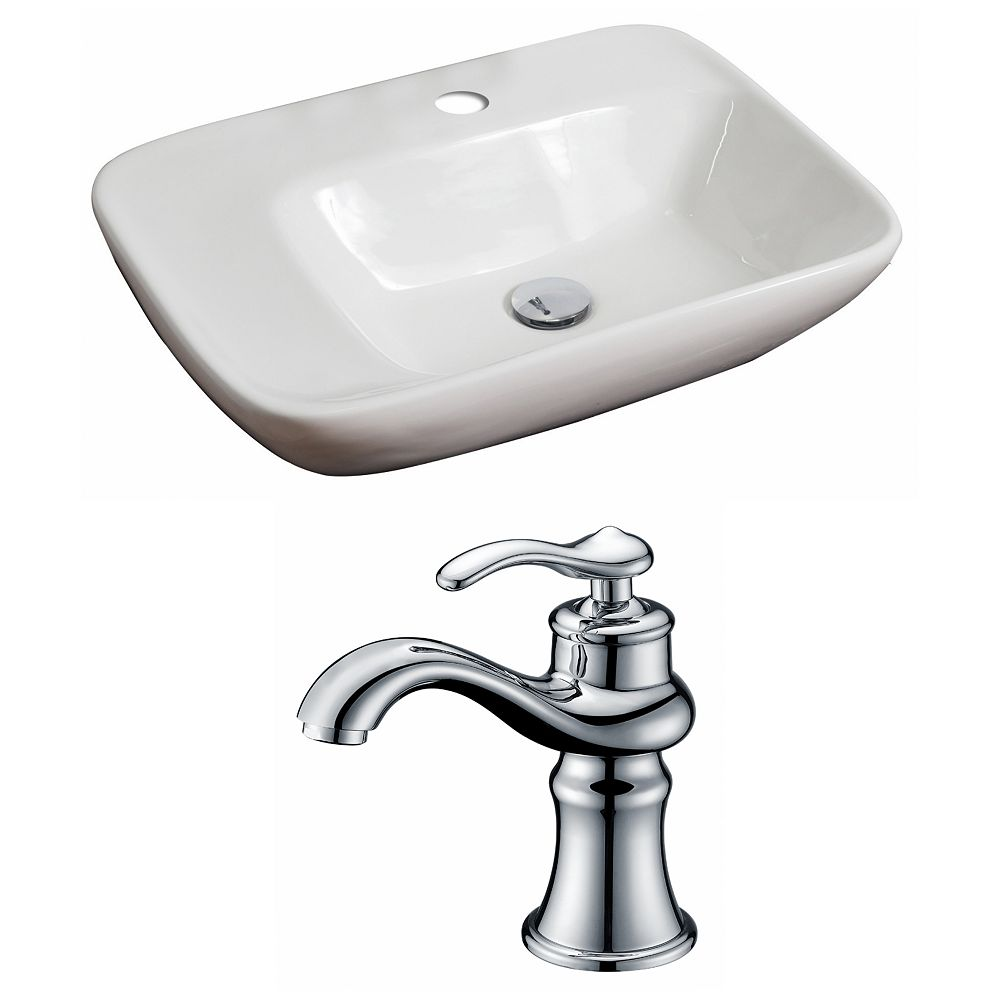 American Imaginations 23-inch W x 17-inch D Rectangular Vessel Sink in White with Faucet