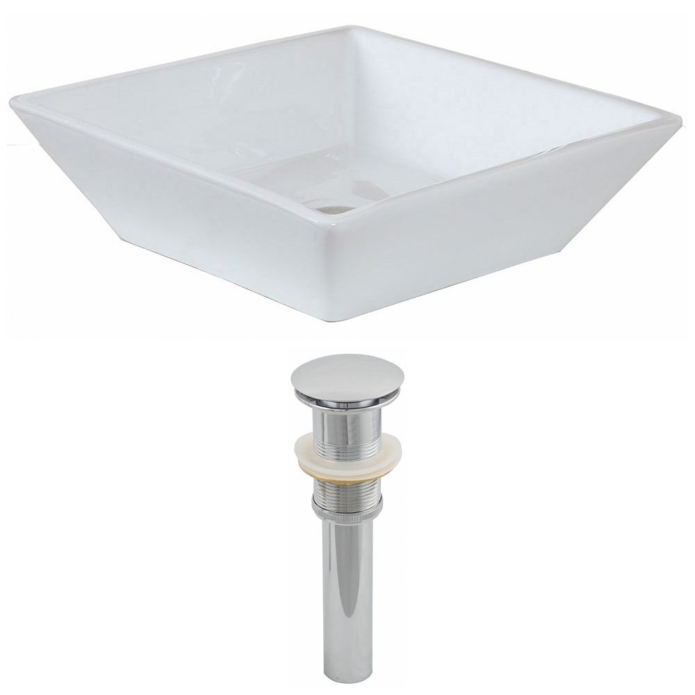 American Imaginations 16-inch W x 16-inch D Square Vessel Sink in White with Drain
