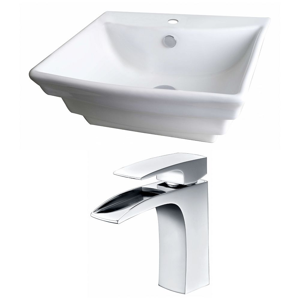 American Imaginations 20-in. W x 18 po. D Rectangle navire Set In White Couleur Avec Single Hole CUPC Robinet