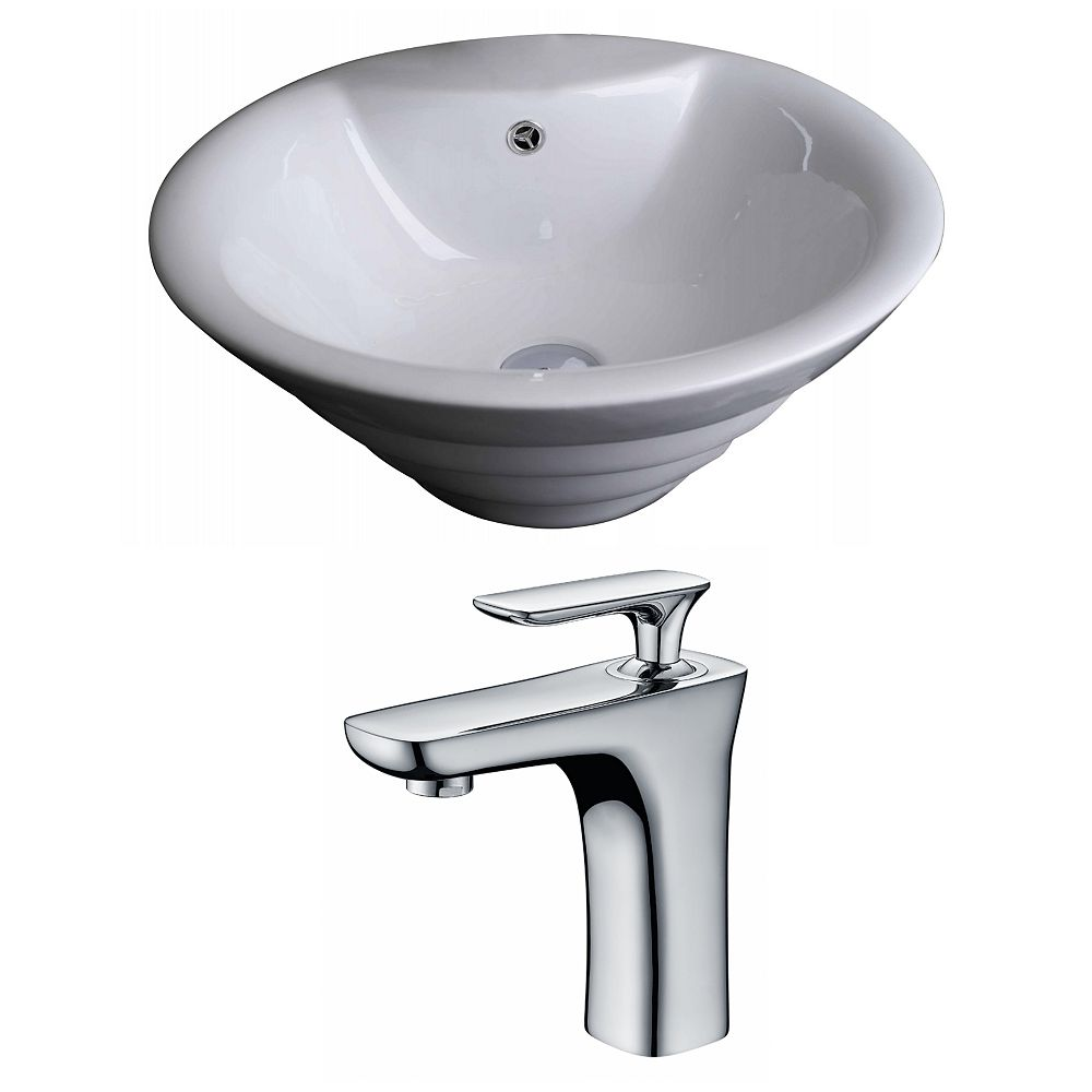 American Imaginations 19-inch W x 19-inch D Round Vessel Sink in White with Faucet