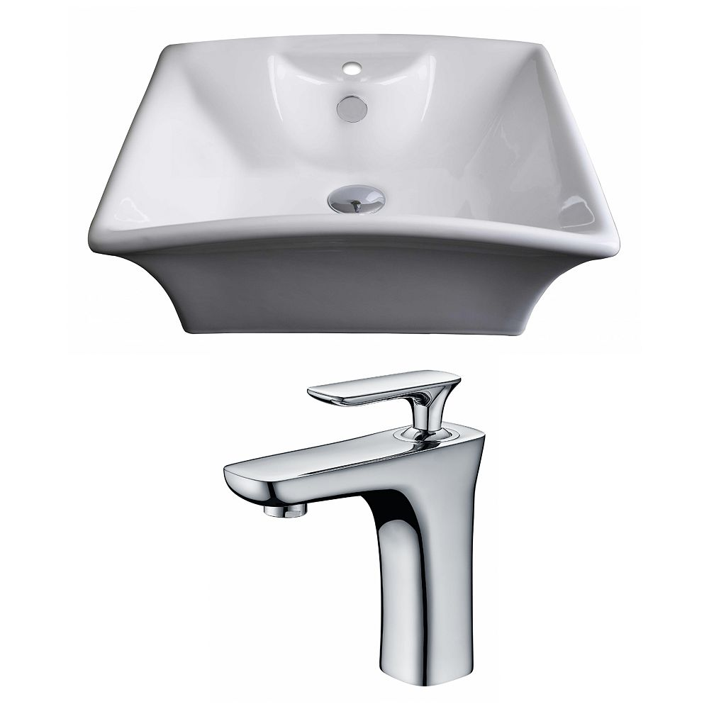 American Imaginations 20-inch W x 17-inch D Rectangular Vessel Sink in White with Faucet