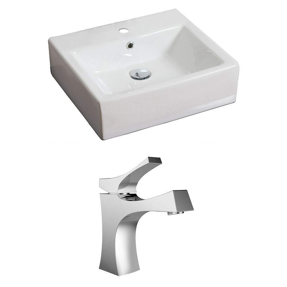 American Imaginations 20-inch W x 18-inch D Rectangular Vessel Sink in White with Faucet