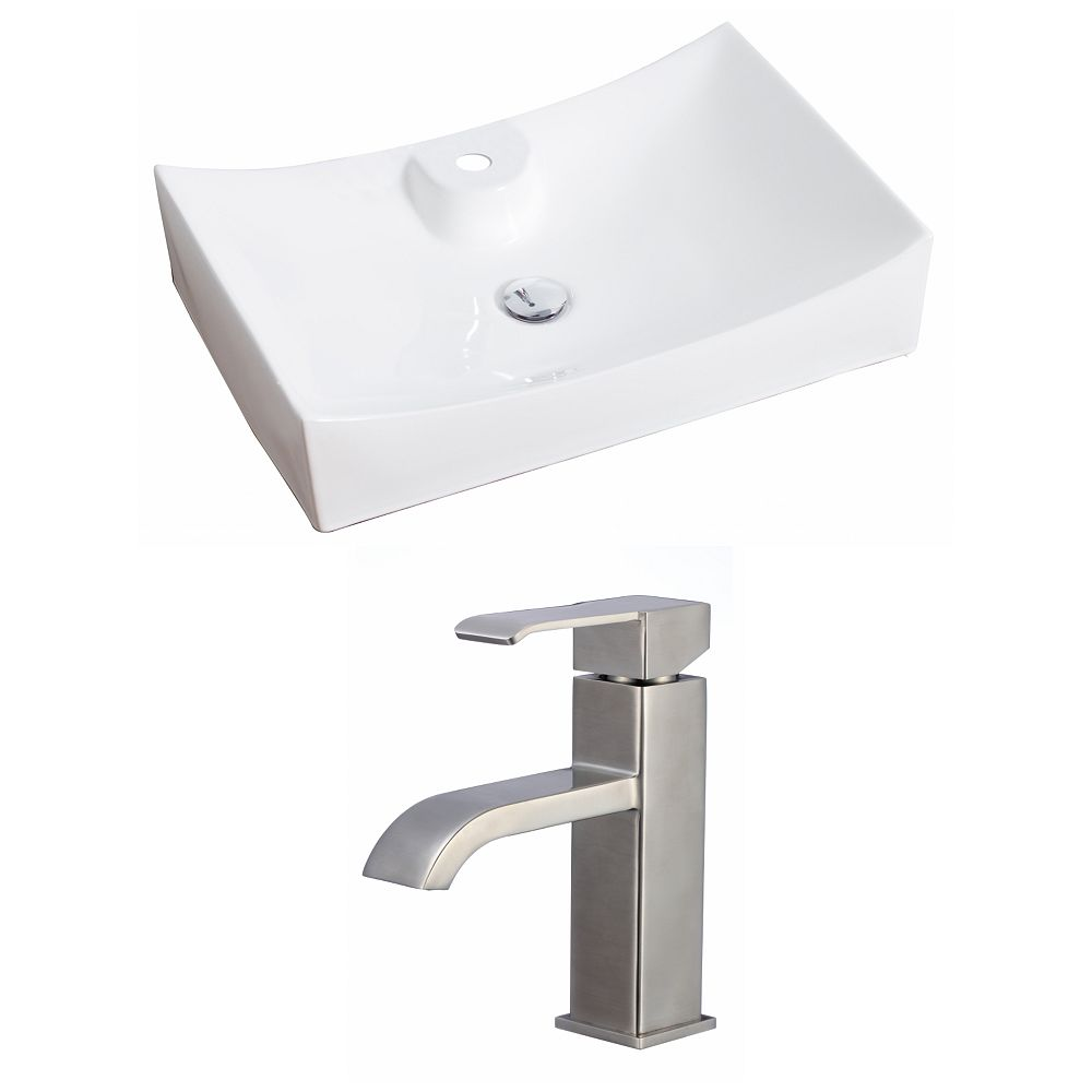 American Imaginations 27-in. W x 18 po. D Rectangle navire Set In White Couleur Avec Single Hole CUPC Robinet