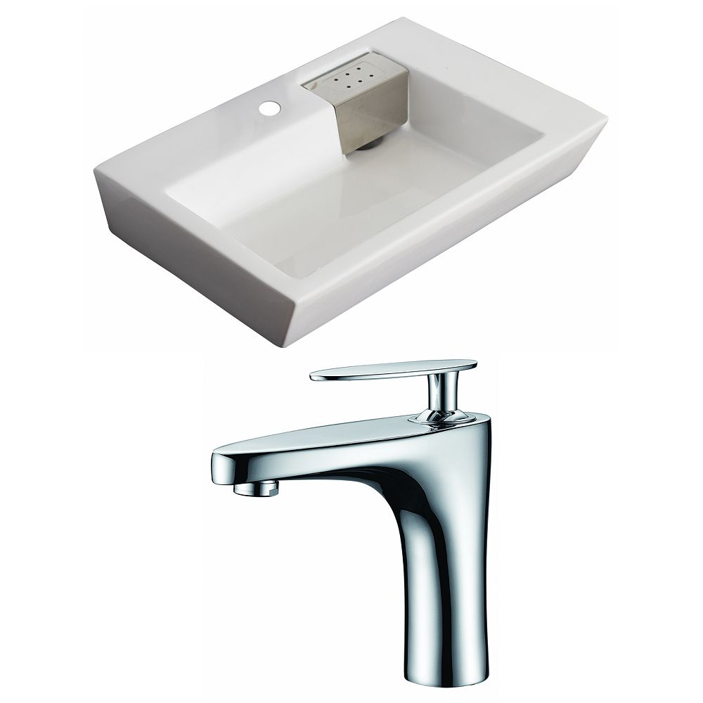 American Imaginations 26-inch W x 18-inch D Rectangular Vessel Sink in White with Faucet