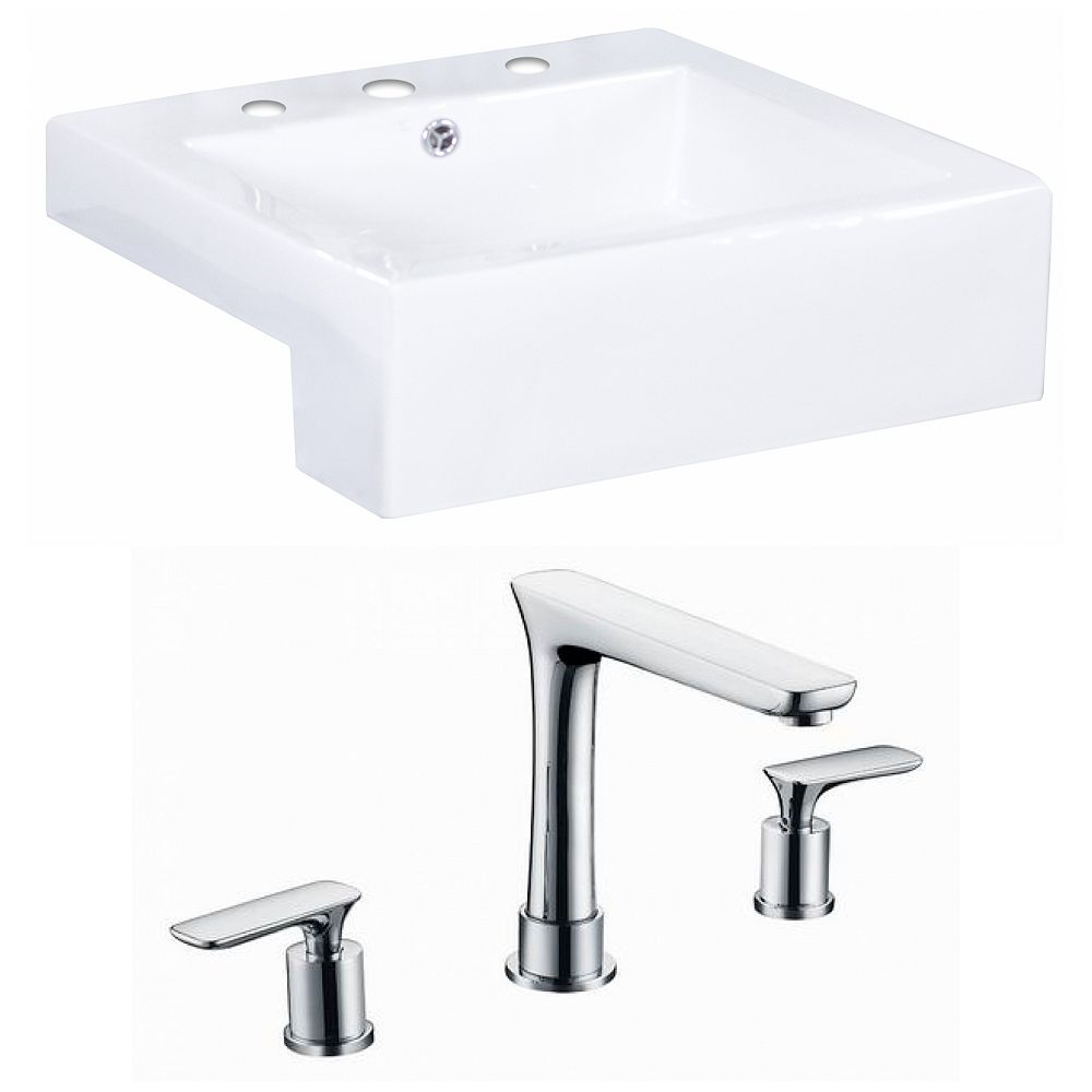 American Imaginations 20-in. W x 20 po. D Rectangle navire Set In White Couleur Avec 8-in. O.C. Robinet CUPC