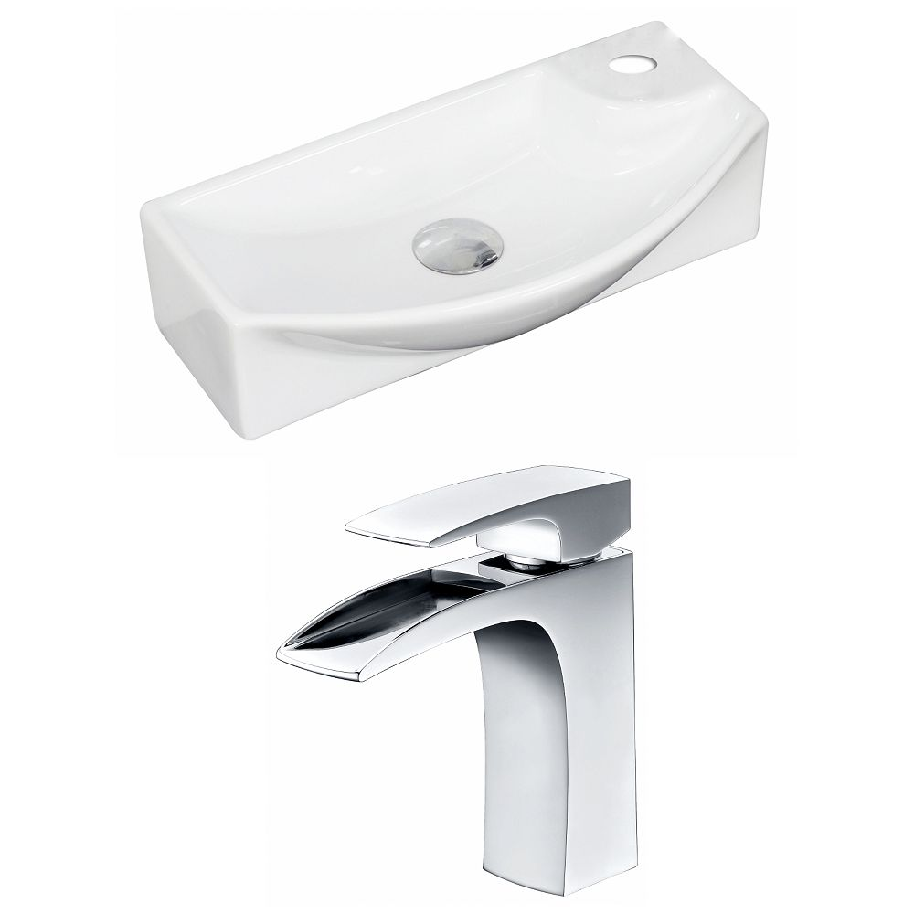 American Imaginations 18-inch W x 9-inch D Rectangular Vessel Sink in White with Faucet