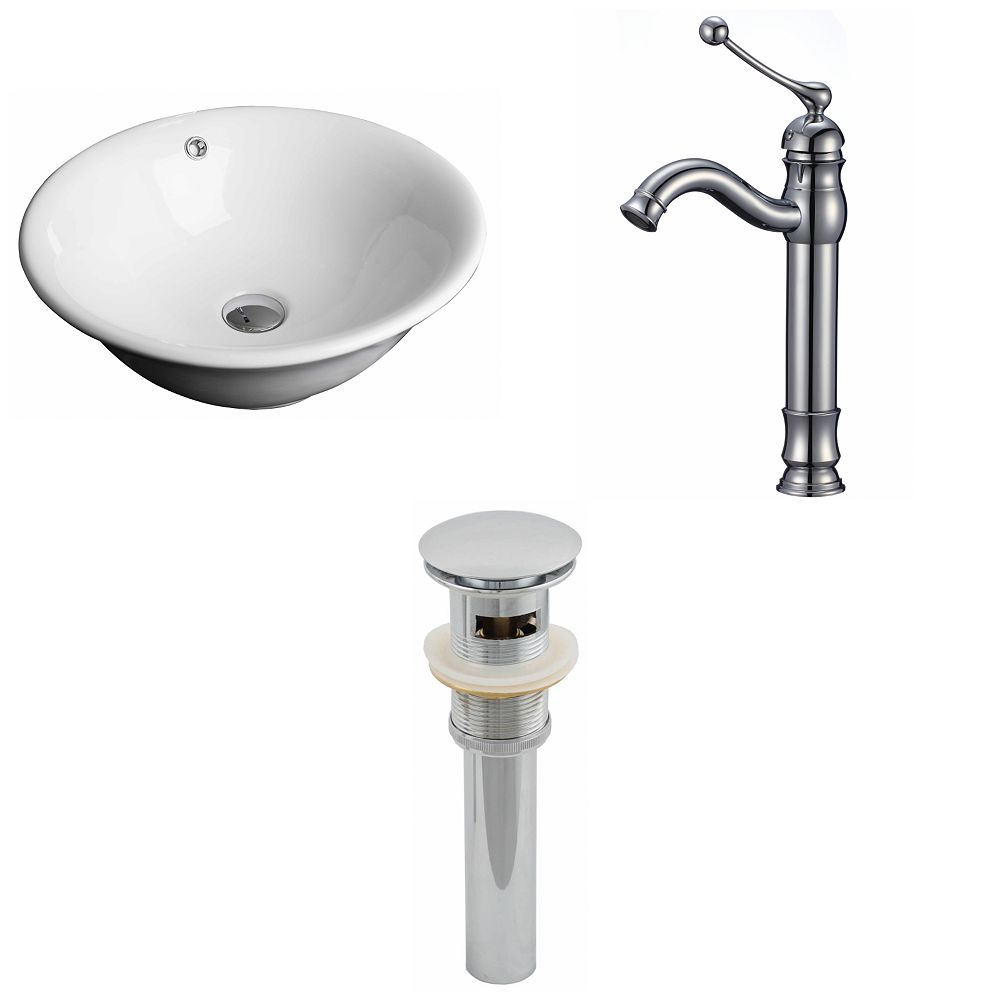 American Imaginations 17-in W Round Fluted Vessel Sink in White with Deck-Mount Faucet and Drain