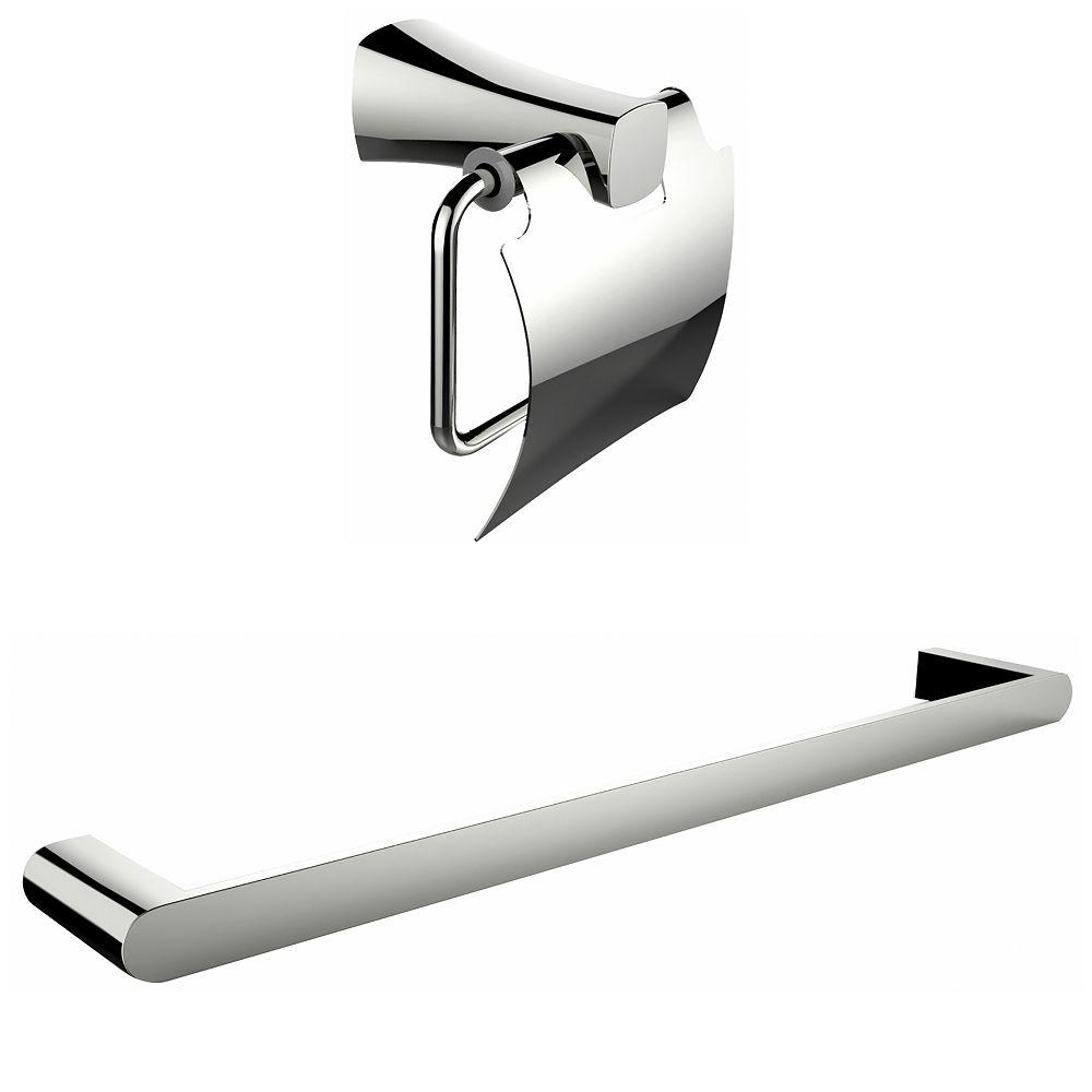 American Imaginations Chromé Toilet Paper Holder Avec Simple Rod Porte-serviettes Accessory Set