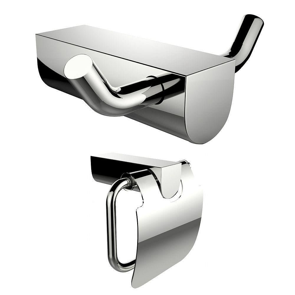 American Imaginations Chrome Plated Toilet Paper Holder And Double Robe Hook Accessory Set