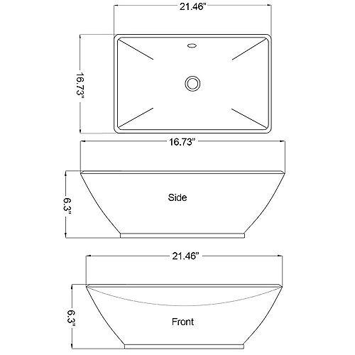 American Imaginations 21 1/2-inch W x 16 3/4-inch D Rectangular Vessel Sink in White