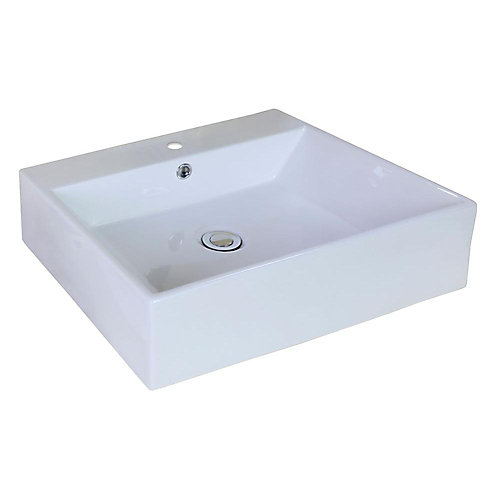 20.5-in. W x 17.25-in. D Above Counter Rectangle Vessel In White colour For Single Hole Faucet