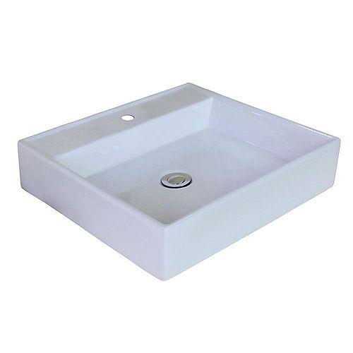 17-inch W x 17-inch D Rectangular Vessel Sink in White