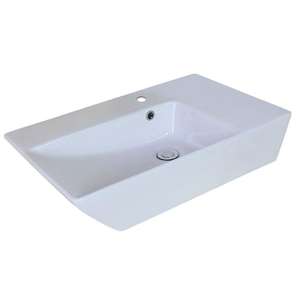 American Imaginations 25-inch W x 15-inch D Rectangular Vessel Sink in White