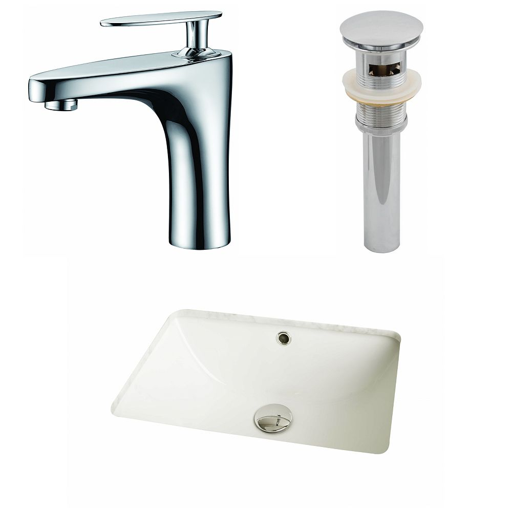 American Imaginations 18 1/4-inch W x 13 1/2-inch D Rectangular Sink Set with Single Hole Faucet and Drain in Biscuit