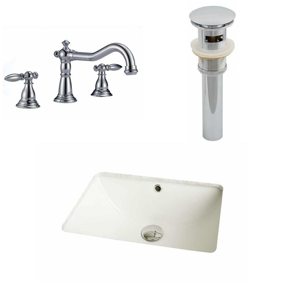 American Imaginations 18 1/4-inch W x 13 1/2-inch D Rectangular Sink Set with 8-inch O.C. Faucet and Drain in Biscuit