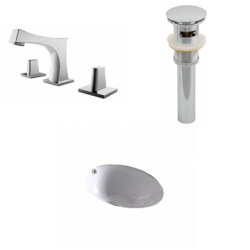 American Imaginations 15 1/4-inch W x 15 1/4-inch D Round Sink Set with 8-inch O.C. Holes in White